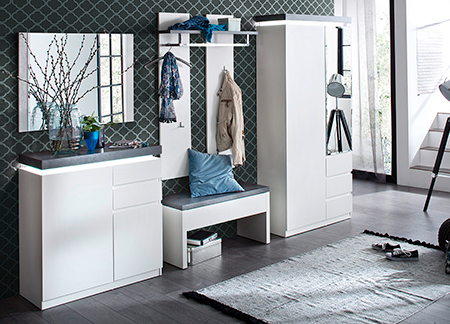 meuble d 39 entr e design blanc gris novomeuble. Black Bedroom Furniture Sets. Home Design Ideas
