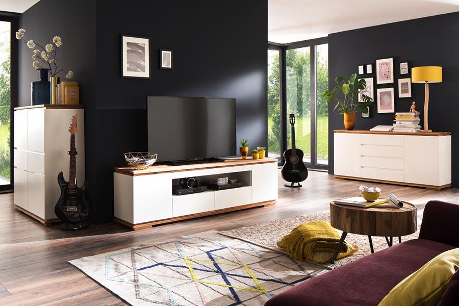 Meuble tv blanc et bois massif novomeuble for Meuble salon blanc et bois