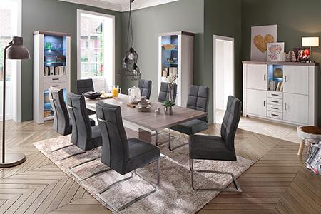 Table à Rallonge Moderne Blanche & Bois Effet 3D pour salle ...