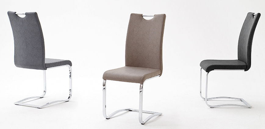 chaises de salle à manger en cuir avec poignée