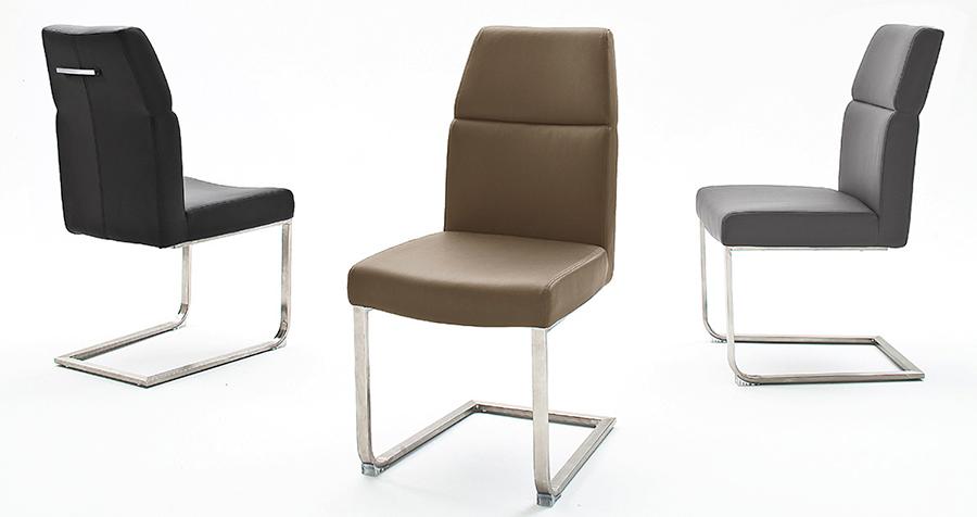 chaise simili avec poignée et pied inox