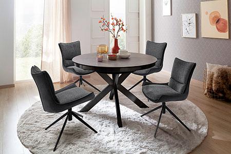 chaise design pivotante en tissu et table a manger ronde