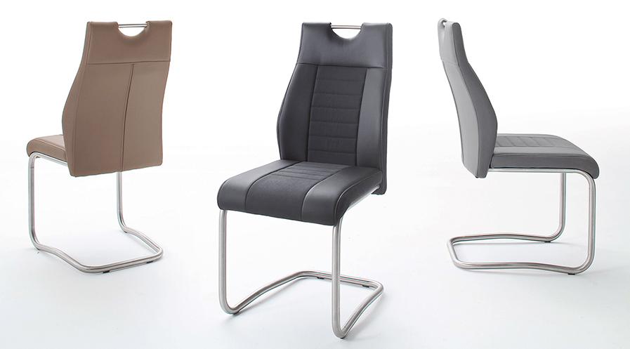 chaise simili cuir et tissu avec poign e pour salle manger. Black Bedroom Furniture Sets. Home Design Ideas