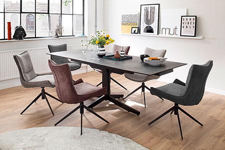 chaise en tissu pivotante pas cher et table de salle a manger
