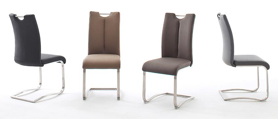 chaises de table avec poignée en cuir