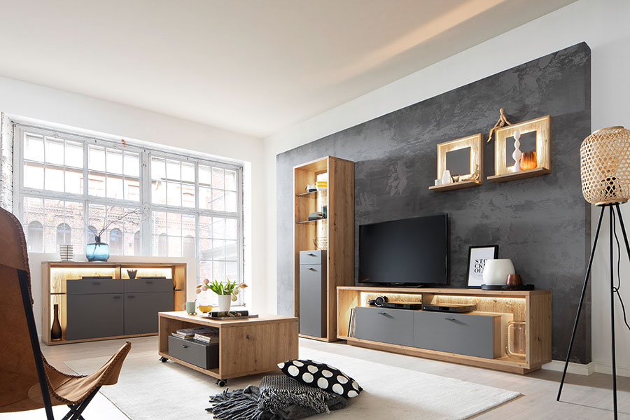ENSEMBLE MEUBLE TV BOIS ET GRIS AVEC ECLAIRAGE LED
