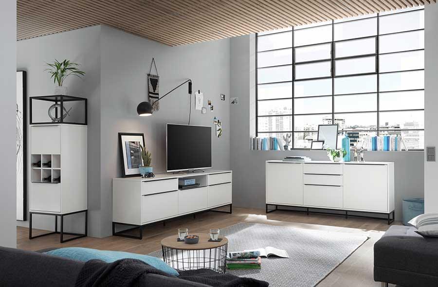 mobilier de salon blanc laqué design