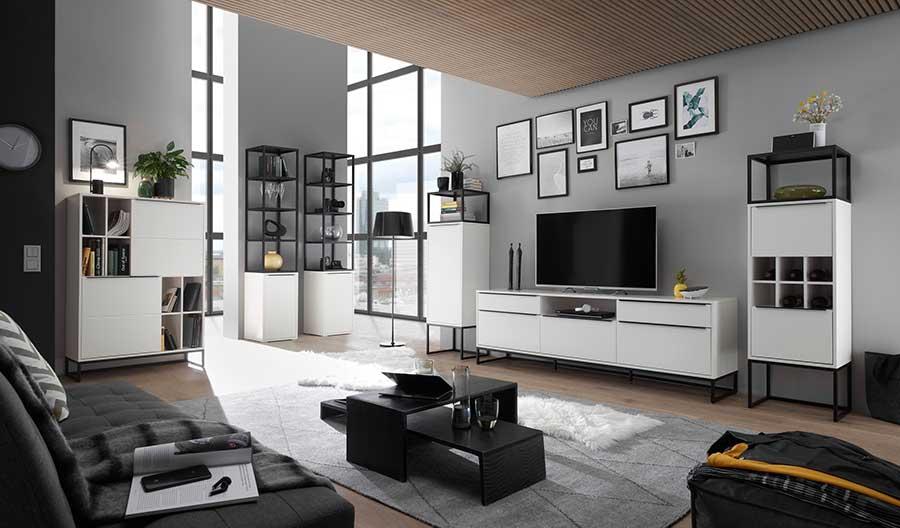 salon séjour blanc laqué design