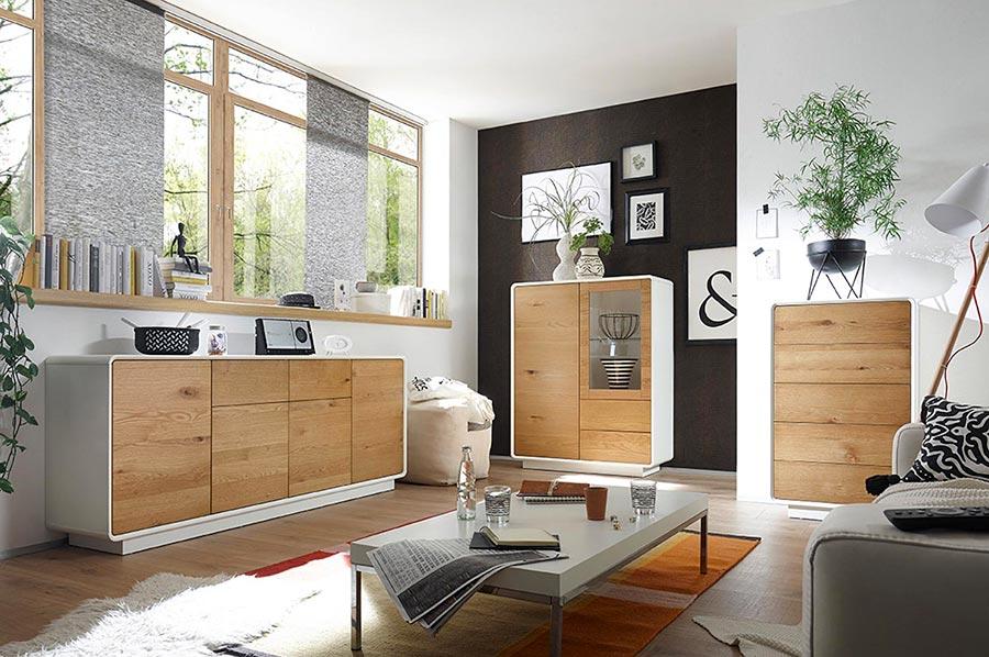 Vitrine de salon moderne blanche & bois pour salon