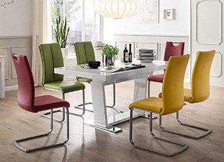 Table de Repas Design Blanche & Plateau en Verre pour salle ...