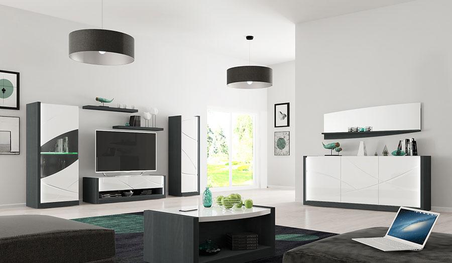 mobilier d'intérieur design blanc laqué et gris