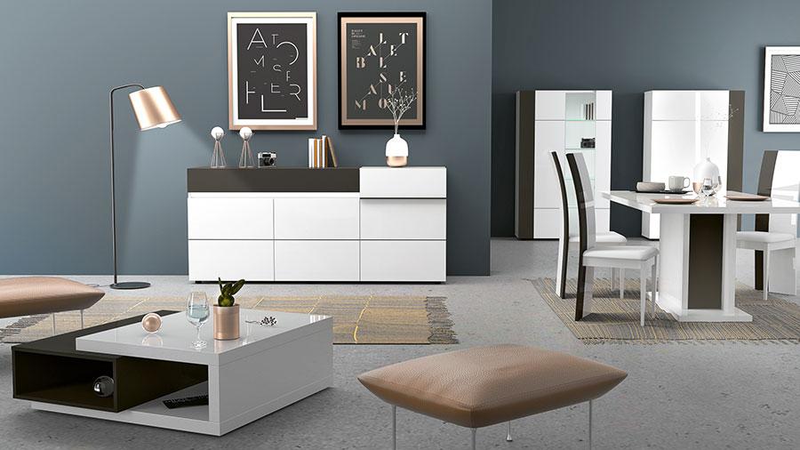 meuble de salle a manger design laqué blanc et gris pas cher