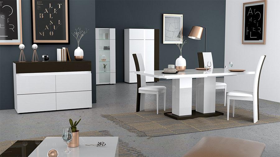 meuble de salon séjour design blanc laqué et gris