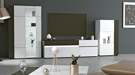 meuble de salon design laqué blanc et gris pas cher