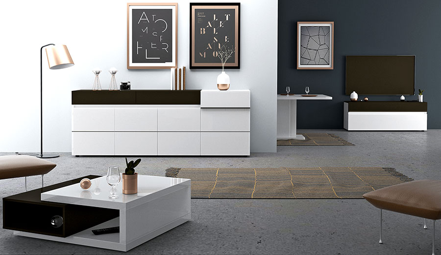 meuble de salon salle à manger design laqué blanc et gris pas cher