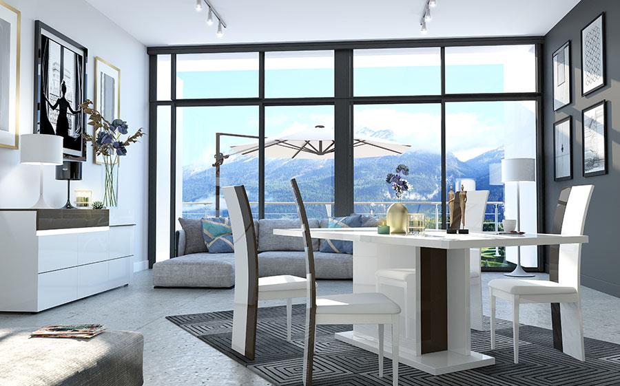 meuble de salle a manger design laqué blanc et gris