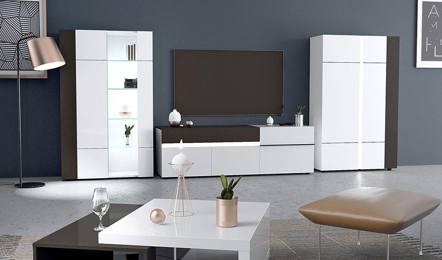 meuble de salon moderne blanc avec éclairage led