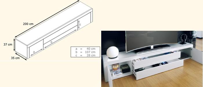 Meuble Tv Design 200 Cm De Long 10 Finitions Moderne Pour Salon