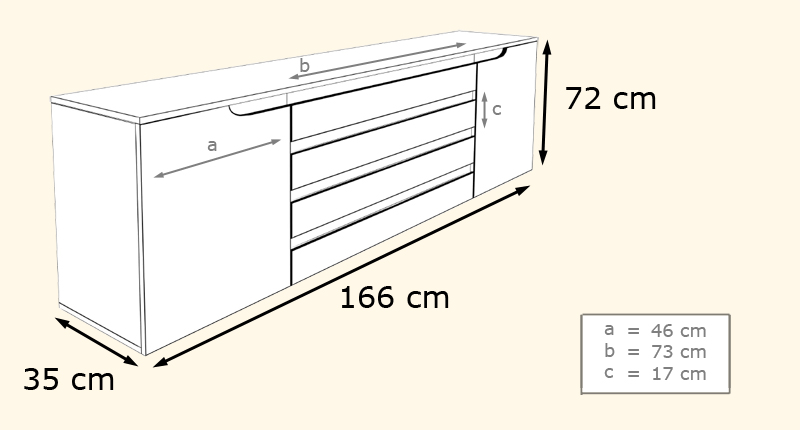 dimensions du buffet design
