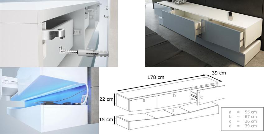 meuble tv suspendu lumineux novomeuble. Black Bedroom Furniture Sets. Home Design Ideas