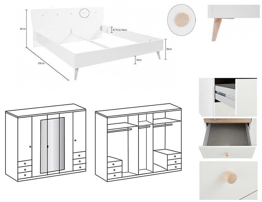 Chambre scandinave blanche et bois novomeuble - La chambre des officiers resume complet ...