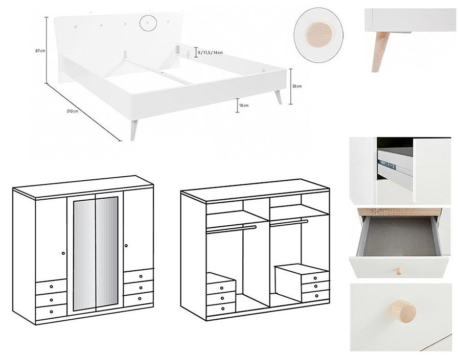 chambre scandinave adulte blanche et bois novomeuble